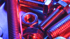 Nuts and bolts rotating Stock Footage