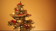 Stock Video Footage of golden christmas tree