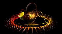 Headphones Playing Music and Equalizer - Equalizer 45 (HD) Stock Footage