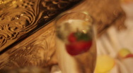Stock Video Footage of Champagne Glass with Strawberry