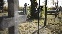 cross on cemetery - stock footage
