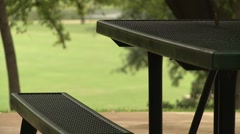 Picnic area in park 3 Stock Footage