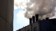 Smoke and steam from industrial plants Stock Footage