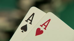 Pocket aces in a deck of playing cards Stock Footage