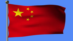 Flag of china flying on a pole Stock Footage