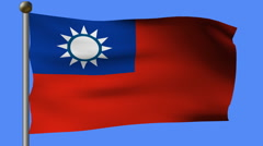 Flag of taiwan on the pole Stock Footage