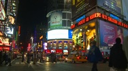Stock Video Footage of New York City, Times Square at night, pan
