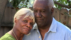 Close up portrait of senior couple outdoors - stock footage