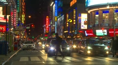 New York City, Times Square at night, traffic, nice color, plenty of signage  Stock Footage