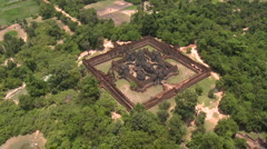 Aerial of the Banteay Samre Temple fairly low altitude-01 Stock Footage