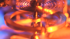 Clock clockwork balance wheel and spring. Stock Footage