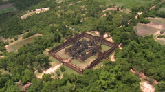 Aerial of the Banteay Samre Temple fairly low altitude-02 Stock Footage