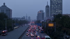 Time lapse: evening view of Chinese city - stock footage