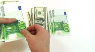 Stock Video Footage of Counting Dollars Euro