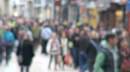 Blurred Busy Crowded Street Stock Footage
