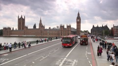 Vehicle traffic at Westminster Bridge in London, UK. Stock Footage