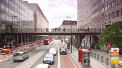 People walking on bridge near Waterloo Station in London, UK. Stock Footage