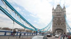 Vehicle traffic at Tower Bridge in London, UK. Stock Footage