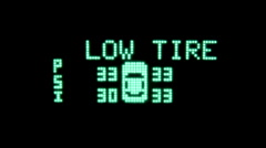 Low Tire Warning Automobile Dashboard Display Stock Footage