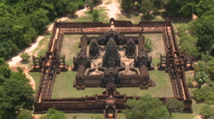 Aerial of the Banteay Samre Temple fairly low altitude - Amazing temple - stock footage