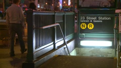 New York City subway station entrance, night Stock Footage