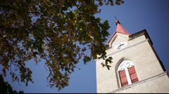 Autumn and church tower Stock Footage