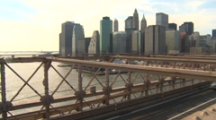 Brooklyn bridge with traffic skyline in bg Stock Footage