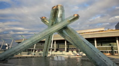 Vancouver Olympic Flame Cauldron 1 HD Stock Footage