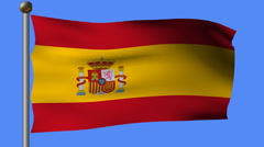 Flag of spain flying on a pole Stock Footage
