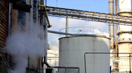 Industrial smoke and steam in Sugar factory Stock Footage