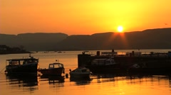 Golden Sunset over Harbour Stock Footage