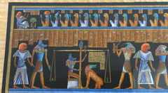 Egyptian papyrus with historic elements of funeral Stock Footage