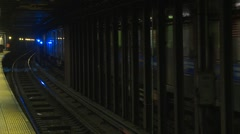 New York City subway, #37 with blue light electrical arcs Stock Footage