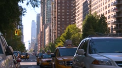 Traffic and skyline, Upper West side, New York City Stock Footage