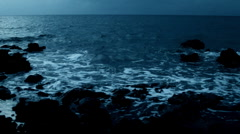 Ocean waves in twilight time - stock footage