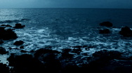 Ocean waves in twilight time Stock Footage