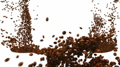 Coffee beans flow with slow motion Stock Footage
