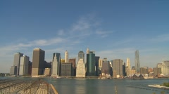 American Icons #1 New York City,  financial dist skyline from Brooklyn, wide Stock Footage