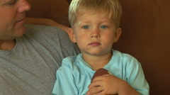 Face of young toddler boy Stock Footage