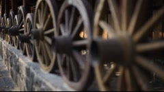 Old wooden wheels Stock Footage