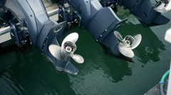 T301 boat engine motor motors marina Stock Footage