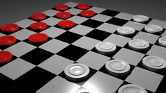 T301 checkers game board games peice piece Stock Footage