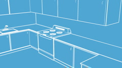 T301 kitchen blueprint blue print Stock Footage