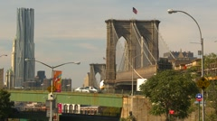 New York City, Brooklyn bridge and traffic with the nearly completed Beekman  Stock Footage