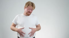 Man Stomach Pain Stock Footage