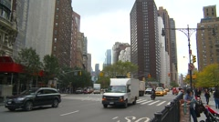 New York City, traffic Central park west, wide shot Stock Footage