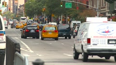 Traffic Central Park west, going away, tight shot Stock Footage