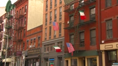 New York City, Little Italy buildings and flags Stock Footage
