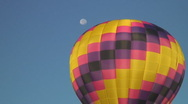 Stock Video Footage of Hot air balloon and full moon