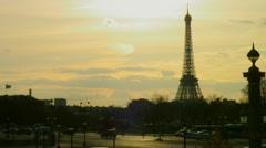 Autumn in Paris - Eiffel Tower from Place de la Concorde Stock Footage